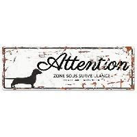 Plaque De Porte - Lettre Decorative DetD Plaque Attention Chien Dachshund - Blanc
