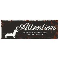 Plaque De Porte - Lettre Decorative DetD Plaque Attention Chien Dachshund - Noir
