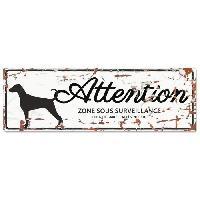 Plaque De Porte - Lettre Decorative DetD Plaque Attention Chien Dalmatien - Blanc
