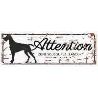 Plaque De Porte - Lettre Decorative DetD Plaque Attention Chien Danish Dog - Blanc
