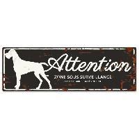 Plaque De Porte - Lettre Decorative DetD Plaque Attention Chien Danish Dog - Noir