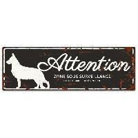 Plaque De Porte - Lettre Decorative DetD Plaque Attention Chien German Shepheard - Noir