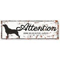 Plaque De Porte - Lettre Decorative DetD Plaque Attention Chien Retriever - Blanc