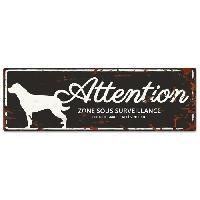 Plaque De Porte - Lettre Decorative DetD Plaque Attention Chien Rottweiler - Noir