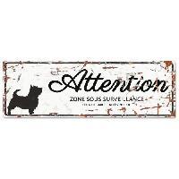 Plaque De Porte - Lettre Decorative DetD Plaque Attention Chien Terrier - Blanc