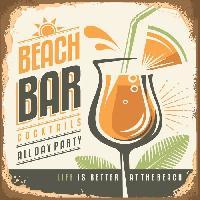 Plaque De Porte - Lettre Decorative Panneau deco Beach Bar - 20x20 cm - MDF - Orange. vert et marron