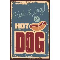 Plaque De Porte - Lettre Decorative Panneau deco Hot Dog - 20x30 cm - MDF - Rouge et beige