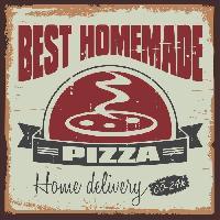Plaque De Porte - Lettre Decorative Panneau deco Pizza - 30x30 cm - MDF - Vert et rouge