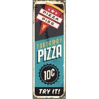 Plaque De Porte - Lettre Decorative Panneau deco Pizza Food - 20x60 cm - MDF - Bleu et noir