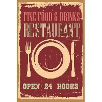 Plaque De Porte - Lettre Decorative Panneau deco Restaurant - 20x30 cm - MDF - Rouge et beige