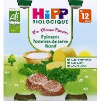 Plat De Legumes - Feculents HIPP 2 pots epinards boeuf et pomme de terre - 2x250 g