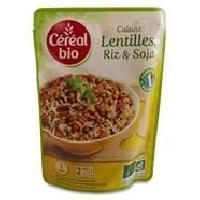 Plat De Legumes - Feculents Lentilles cuisinees. riz et soja Bio - 250 g