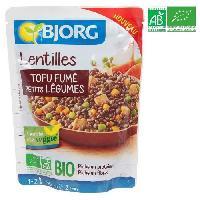 Plat De Legumes - Feculents Plat prepare Lentilles tofu fume - Bio - 250g