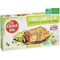 Plat De Legumes - Feculents Tendres carres de ble a base de petit pois. courgette et curry Bio - 200 g