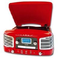 Platine Vinyle RETRO-03 Platine Vinyle tourne disque USB rouge