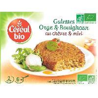 Plats Prepares Galettes de cereales cuisinees a base d'orge. boulghour. fromage de chevre et de miel Bio - 200 g
