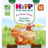 Plats Prepares Soir BIOLOGIQUE Les menus plaisirs Tomates Pates Veau - 2x250 g - Des 12 Mois
