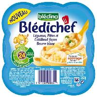 Plats Prepares Soir Legumes pates et cabillaud blanc Bledichef - 260 g
