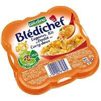 Plats Prepares Soir Legumes riz et poulet au curry doux Bledichef - 260 g
