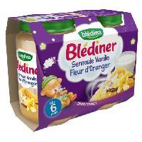 Plats Prepares Soir Lot de 2 petits pots a la semoule. vanille et fleur d'oranger Blediner - Des 6 mois - 2 x 200 g