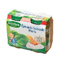 Plats Prepares Soir Petits Pots Epinards Semoule Merlu - 2 x 200g
