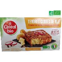 Plats Prepares Tendres carres vegetarienne a base de ble et de fromage Emmental Bio - 200 g