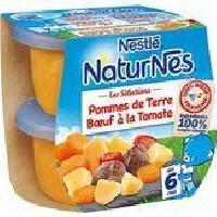 Plats Prepares Viande Lot de 2 plats complets - Pommes de terre et boeuf a la tomate Naturnes- Des 6 mois - 2 x 200 g