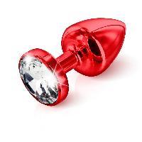 Plug anal avec Swarovski - 6cm - D2.5cm - Rouge