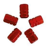 Pneus Capuchons de valve piston 5pcs rouge Generique