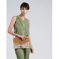 Pochette A Main WOMAN - Pochette a Bandouliere en Cuir et Toile Imprime Bhopal Inspiration Ethnique - Femme