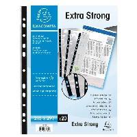 Pochette Plastique EXACOMPTA 20 pochettes perforees avec bande de renfort 210x297 85µ perforation - 11 trous