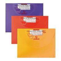 Pochette Plastique Pochette de rangement a dessin translucide - 34 x 47 cm - Couleurs assorties