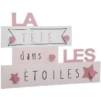 Porte-manteau - Patere - Portant Patere Tete dans les étoiles 5 crochets - Rose