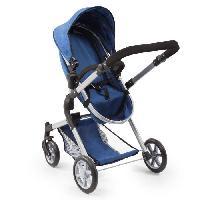 Poupee - Peluche BAYER Landau pour poupee Neo Star bleu avec sac a bandouliere et panier d'achat integre reglable - convertible poussette