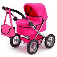 Poupee - Peluche BAYER Poussette Landau Pour Poupee Trendy Uni Rose Pink. Reglable - 68 Cm