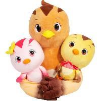 Poupee - Peluche Katuri - Peluche Famille Katuri - Maman Oiseau Flora et ses Enfants Chip & Duri - A partir de 3 ans - Peluche du Dessin Animé Katuri