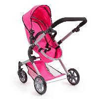 Poupee - Peluche Landau pour poupee Neo Star pink vif avec sac a bandouliere et panier d'achat integre reglable - convertible poussette