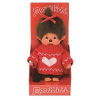 Poupee - Peluche Monchhichi - peluche - Fille pull rouge coeur blanc 20 cm