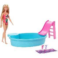 Poupee BARBIE Barbie et sa Piscine - GHL91 - Coffret Poupée Mannequin - 3 ans et +
