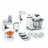 Preparation Culinaire BOSCH - Kitchen machine Serie 2 - Robot de cuisine - 700W - 4 vitesses + turbo - Bol mélangeur inox 3.8 L - Blender 1.25 L - Blanc