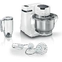 Preparation Culinaire BOSCH Kitchen machine Serie 2 blanc -700W - Bol mélangeur inox 3.8 L - Fouet - Crochet pétrisseur - Blender