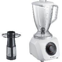 Preparation Culinaire BOSCH MMB21P1W - Blender SmoothieMixx - 500 W -  2 vitesses + turbo - Bol mixeur plastique 1.5 L - 21 000 Tours/min - Blanc/rouge