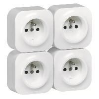Prise Profil eco complet Lot de 4 prises de courant avec terre en saillie blanc
