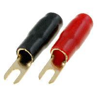 Prises & Cosses 20x Connecteurs Fourchette M8 22mm2 Dores Isoles - a sertir