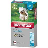 Produit De Soin - Hygiene ADVANTIX 6 pipettes antiparasitaires - Pour petit chien de 4 a 10kg
