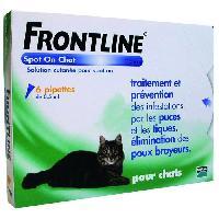Produit De Soin - Hygiene FRONTLINE Spot On chat -Anti-puces et anti-tiques pour chat - 6 pipettes