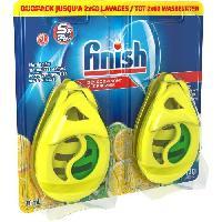 Produit D'entretien FINISH W4B Pack de 2 desodorisants pour lave-vaisselle - Parfum citron et citron vert - 2 x 60 lavages