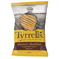 Produits Sales Aperitif TYRRELL'S Chips de pommes de terre Ondulees Sachet de Cheddar affine et a l'oignon marine - 150 g