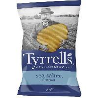 Produits Sales Aperitif TYRRELL'S Chips de pommes de terre Ondulees Sachet de Sel de mer - 150 g
