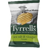 Produits Sales Aperitif TYRRELL'S Chips de pommes de terre Ondulees Sachet de Sel de mer et au vinaigre - 150 g